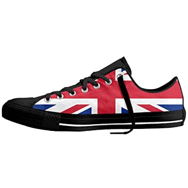 51afd0ef205c Amazon.com  Union Jack Unisex Classic Canvas Lace Up Shoes Sneakers For Men    Women  Clothing