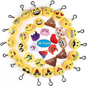Ventdest Mini Emoji Llavero, 35 PCS Emoticon Llavero Emoji Encantadora Almohada para la decoración de Bolsos Mochilas y Llaves Regalitos para niños cumpleaños Colgante de decoración para Coche: Amazon.es: Salud y cuidado