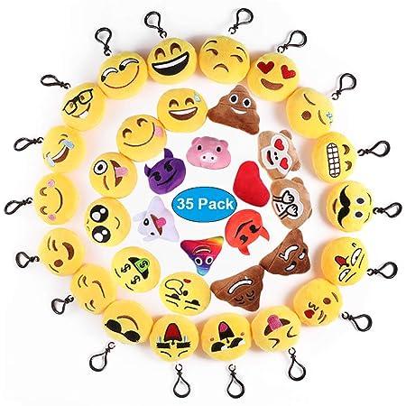 Ventdest Mini Emoji Llavero, 35 PCS Emoticon Llavero Emoji Encantadora Almohada para la decoración de Bolsos Mochilas y Llaves Regalitos para niños ...