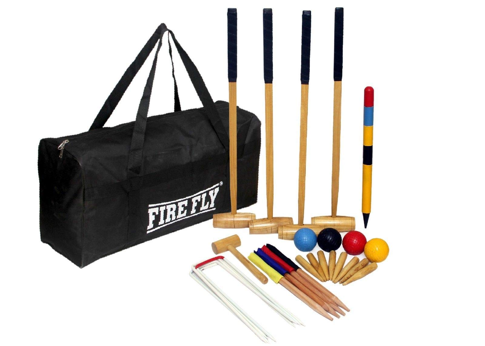 C&W Four-Player Croquet Set with Wooden Mallets, Colored Balls, Sturdy Carrying Bag for Adults &Kids, Perfect for Lawn,Backyard,Park and More by