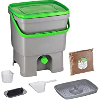 Skaza Bokashi Organko (16 L) Compostador de Jardín y Cocina de Plástico Reciclado | Starter Set con Bokashi Organko…