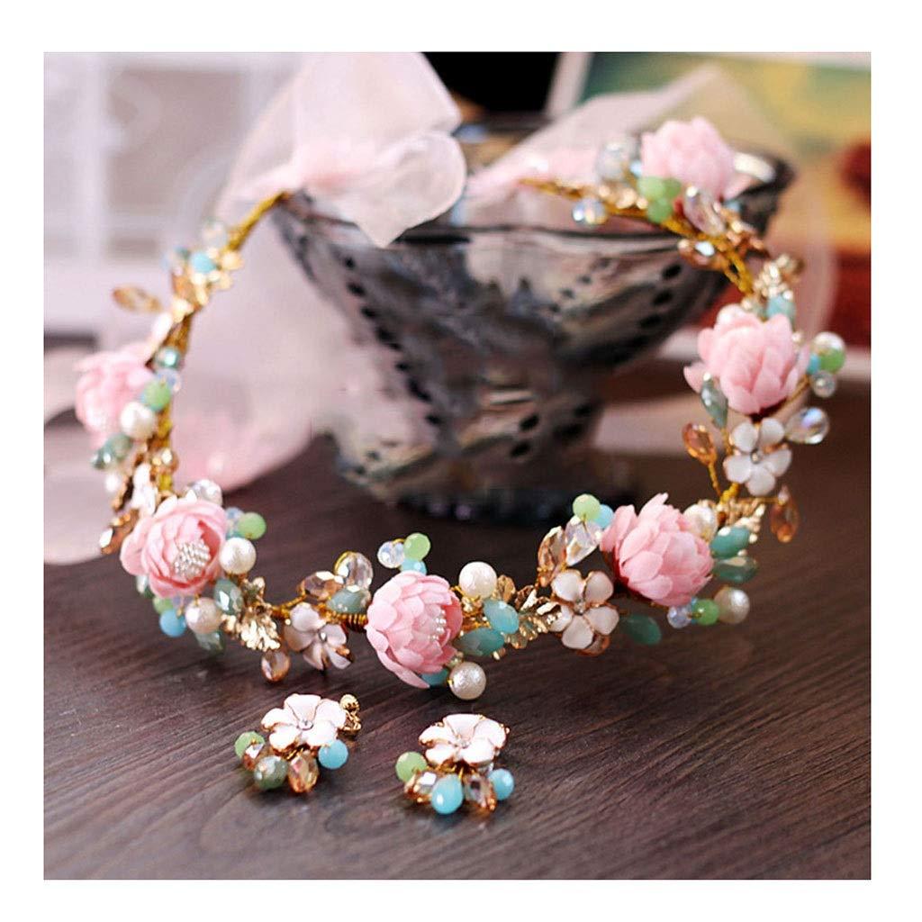Wreath Flower Sweet Bride Headdress Pink Flower Soft Headband Wedding Accessories (Color : B, Size : 33cm)