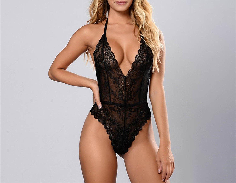 7e1d0b5e03 Amazon.com  better-caress Deep V Lace Bodysuit Sexy Mesh Bodysuit  Sleeveless Fitness Summer Jumpsuit Slip Leotard Bodies  Clothing