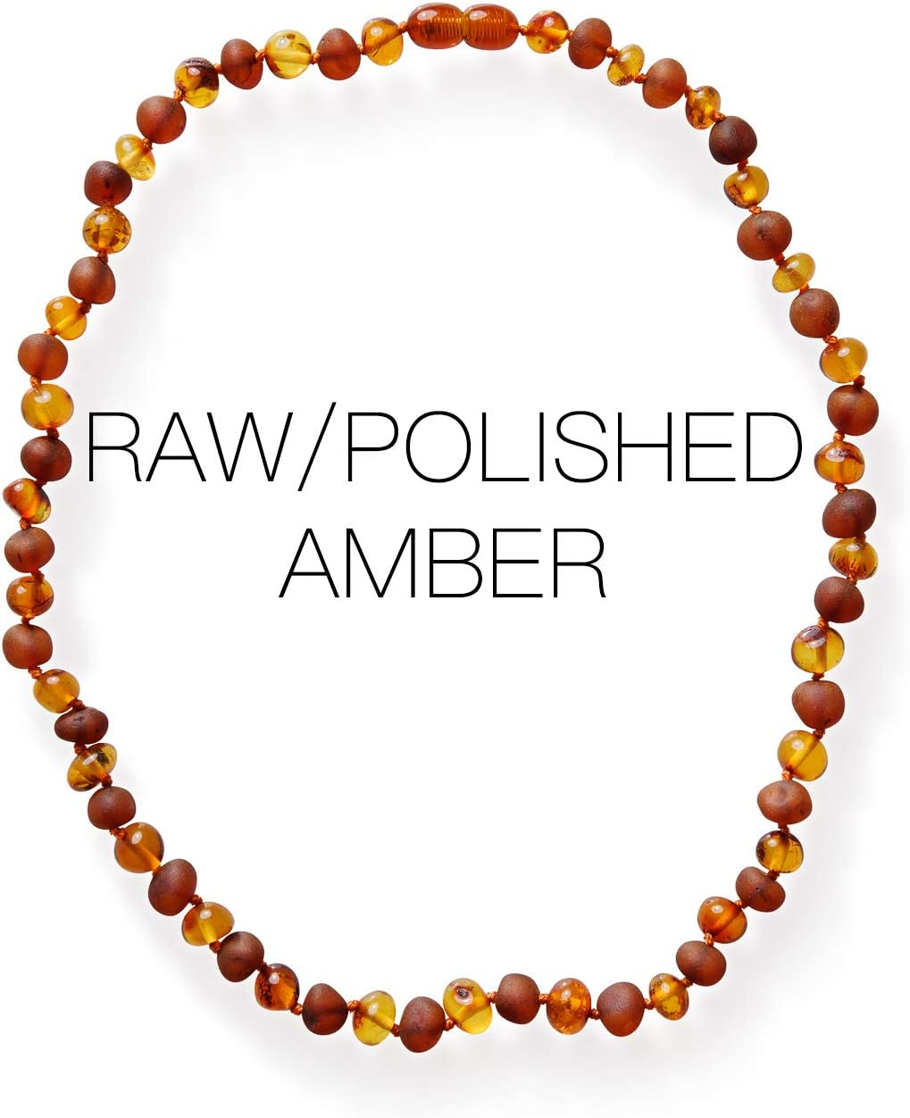 Natural Baltic Amber Adult Necklace with Polished Cognac Color Beads
