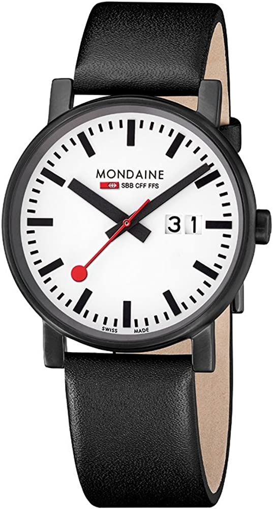 Mondaine SBB EVO Big Date Black&White 40mm A627.30303.61SBB Reloj de Pulsera Cuarzo Unisex Correa de Cuero Negro