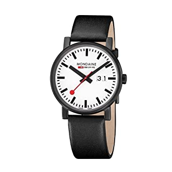 Mondaine Mens Evo Black And White Quartz Stainless Steel Leather Casual Watch