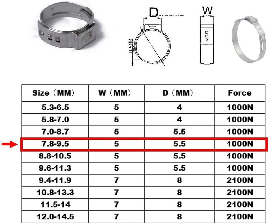 Broadroot 10pcs bridas para tubos individuales de oreja y abrazaderas flexibles hidr/áulicas de acero inoxidable o tubo de clip 15.0-17.5mm