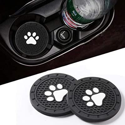 Lipctine Paw Logo 2 PCS 2.75 Inch Soft Rubber Pad Set Round Auto Cup Holder Insert Drink Coaster fit for Jeep Wrangler Liberty Grand Cherokee Renegade Compass Patriot SUV 2PCS: Automotive [5Bkhe1001440]