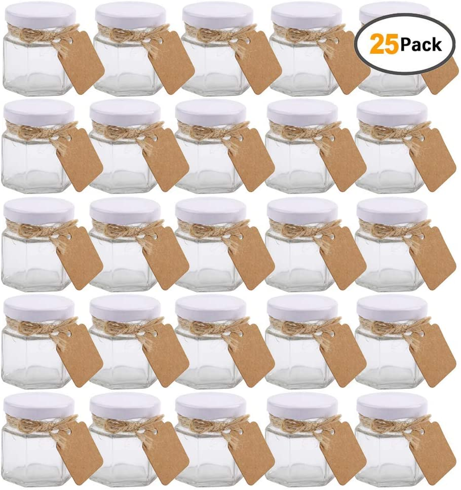 Small Mason Jars,Woaiwo-q 1.5oz Small Glass Jars Mini Honey Jars Clear Hexagon Jars with Lids(White,25Pack)