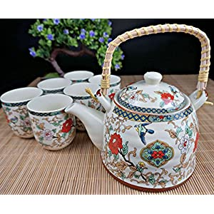 "Porcelain Tea Set 9 Pieces - Traditional Chinese Style - Large Teapot + Lid + 6 Cups + Filter - the ""Chinese Nature"" model - Lead Free"