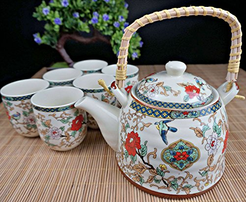 """Porcelain Tea Set 9 Pieces - Traditional Chinese Style - Large Teapot + Lid + 6 Cups + Filter - the """"Chinese Nature"""" model - Lead Free"""