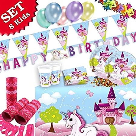 Juego de 52 piezas de decoración de cumpleaños con diseño de unicornio para cumpleaños infantiles con fiesta temática para niños de 8 años