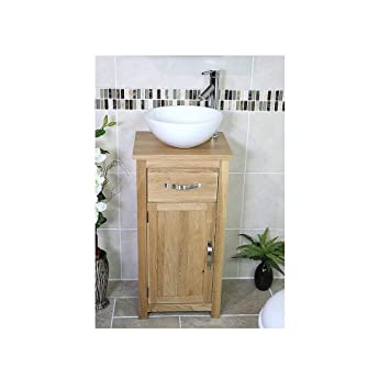 Wondrous Solid Oak Bathroom Cabinet Cloakroom Basin Vanity Unit Home Remodeling Inspirations Genioncuboardxyz