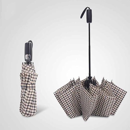 BiuTeFang Umbrellas Automatic umbrella British style lattice umbrella automatic umbrella leather handle umbrella 65x115cm