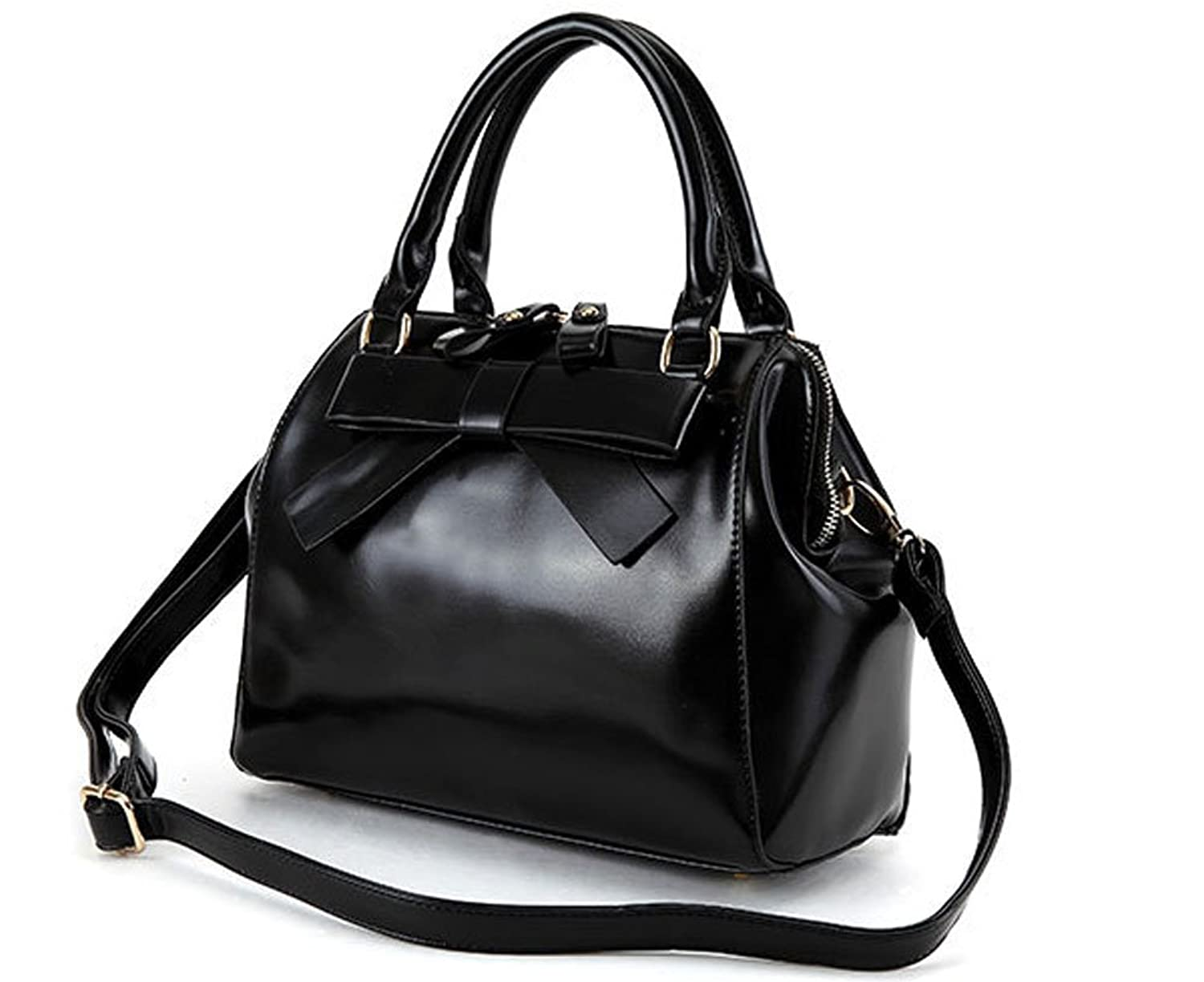 FLYING BIRDS Bow Women Totes Messenger Leather Handbags ZCBG46 (Black)