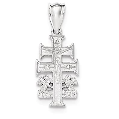 Amazon sterling silver polished caravaca double cross with sterling silver polished caravaca double cross with angels crucifix pendant mozeypictures Choice Image