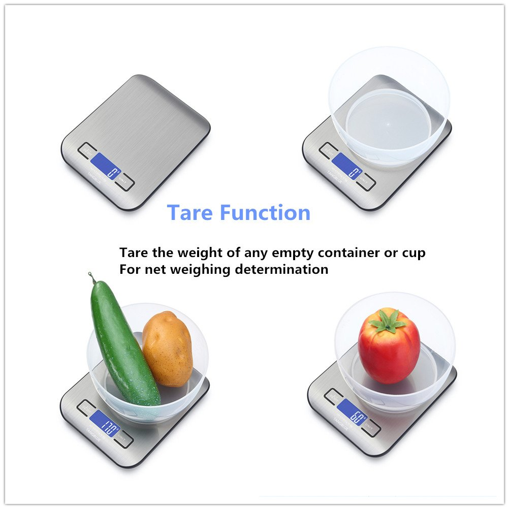 Amazon.com: TANGBLUE Digital Kitchen Scale High Accuracy Multifunction Food Scale, 11 lb 5 kg, Tare & Auto Off (Batteries Included) (Silver): Kitchen & ...