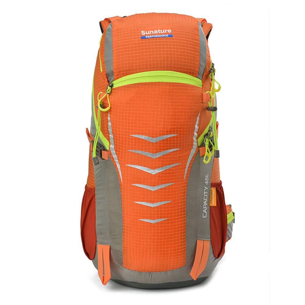 45Lアウトドアバックパックハイキングレジャー旅行バックパック乗馬キャンプバックパックポリエステルバックパック配達  オレンジ B07RKG5YWR