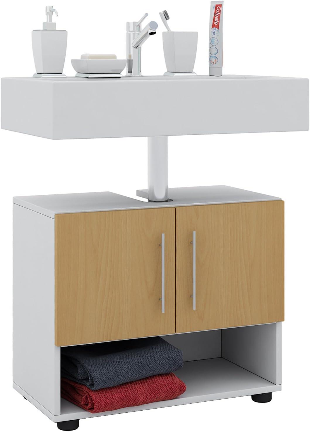 VCM Hebola I Waschbeckenunterschrank, Holzdekor, Weiß/Buche, 12 x