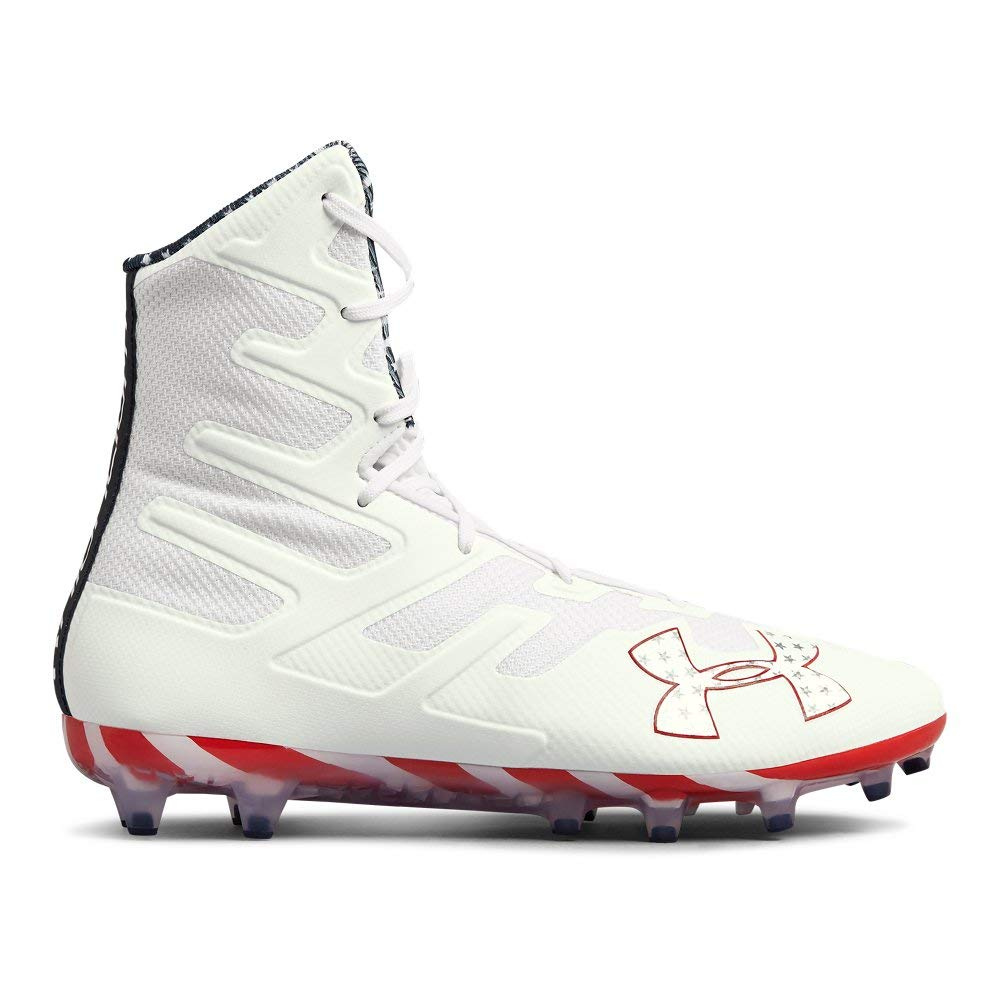 Under Armour Men's Highlight MC Limited Edition Lacrosse Shoe, White (103)/Red, 10.5 by Under Armour