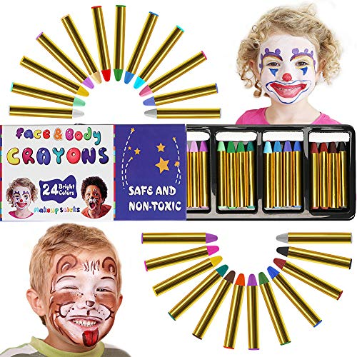 COGGIFEL 24 PCs Face Body Crayons for Kids Safe Non-Toxic Washable Body Crayon Kits Cosplay Halloween Makeup Face Paint Crayons Boys Girls for $<!--$8.99-->