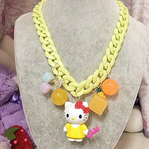 usongs Meng candy custom yellow cat acrylic bead necklace pendant chain crystal star necklace pendant accessories parenting models ()