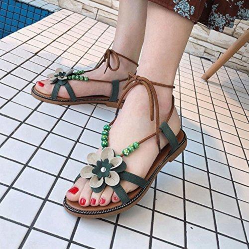 de Sandalia Tobillo Abrir Gladiador Verde Mujeres Sandalias Moda Planas Toe flejado Diseño Correas Verano atXqaw8nW