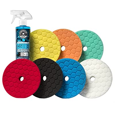Chemical Guys BUFX701 Hex-Logic Quantum Best of the Best Buffing and Polishing Pad Kit, 16 fl. oz (8 Items) (6.5 Inch Fits 6 Inch Backing Plate): Automotive