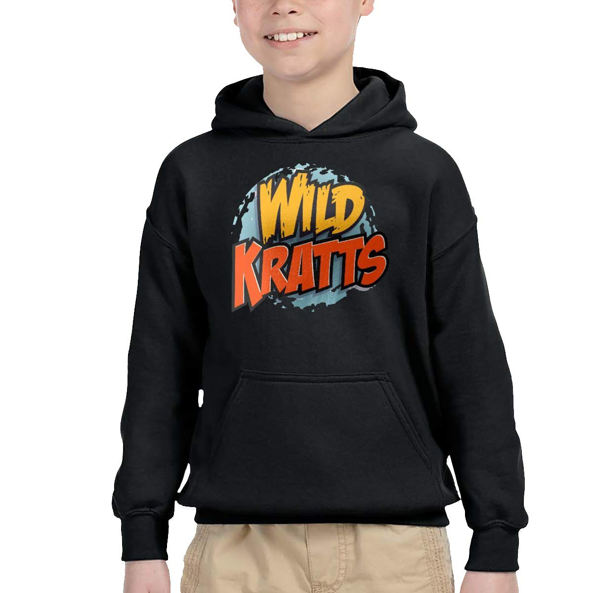 Rizhaoyue 2-6 Year Old Childrens Hooded Pocket Sweater Personality Street Trend Creation Wild Kratts Logo Black