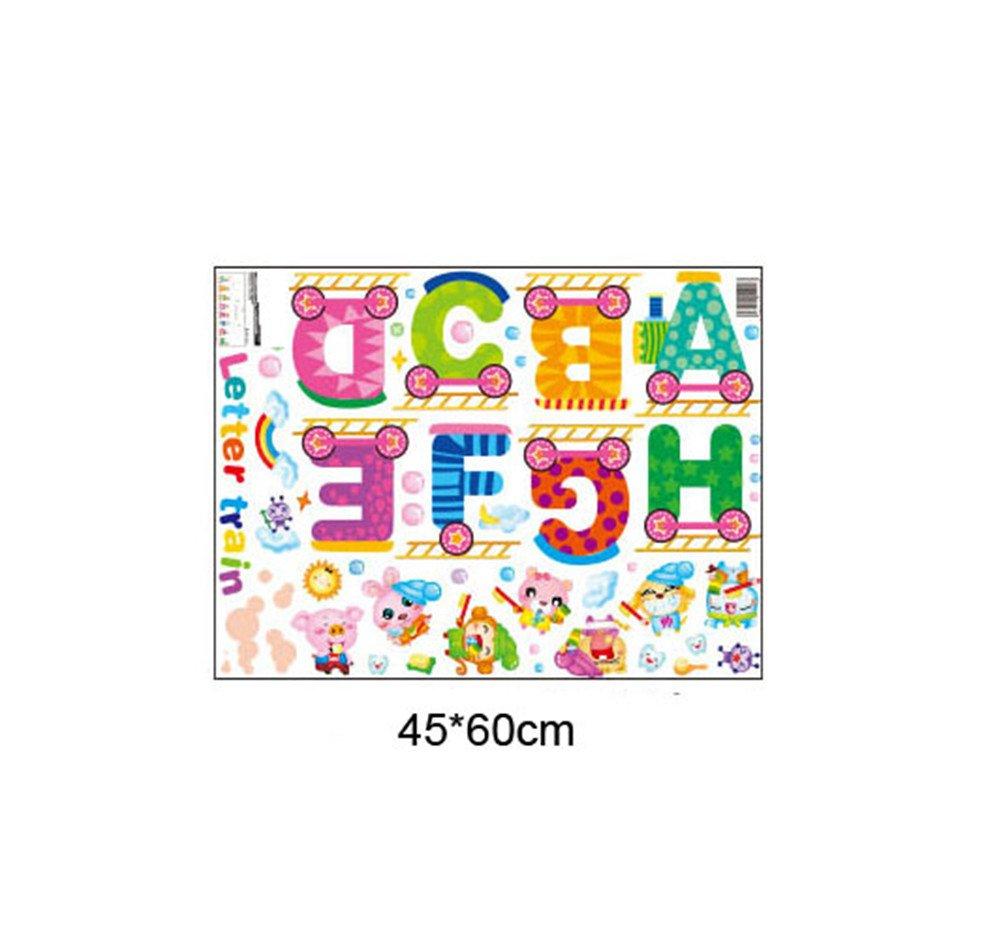 ufengke d/écor adesivo da parete con simpatici animali in stile cartone animato e lettere decorazione da parete rimovibile per la cameretta dei bambini