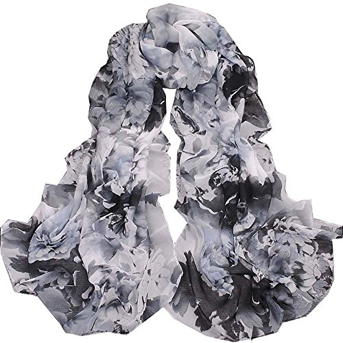 ChikaMika Floral Scarves for Women Black Peony Chiffon Scarves Lightweight Wrap Shawls