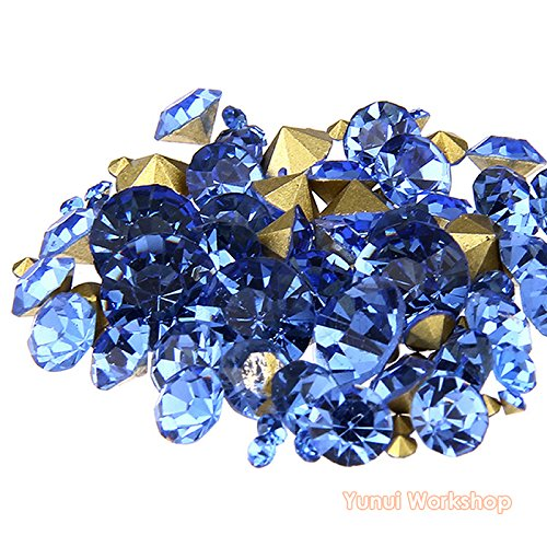 (Light Blue, ss8, 2.5mm, 1440pcs) Pointed Back Round Glass Faceted Rhinestones Scrapbooking Cabochon Nail Art Craft