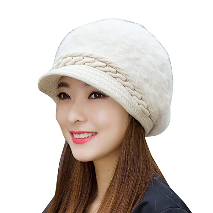 Amazon.com  Jemis Women Winter Warm Hat Woolen Hat (Beige)  Clothing 2424915a24ae