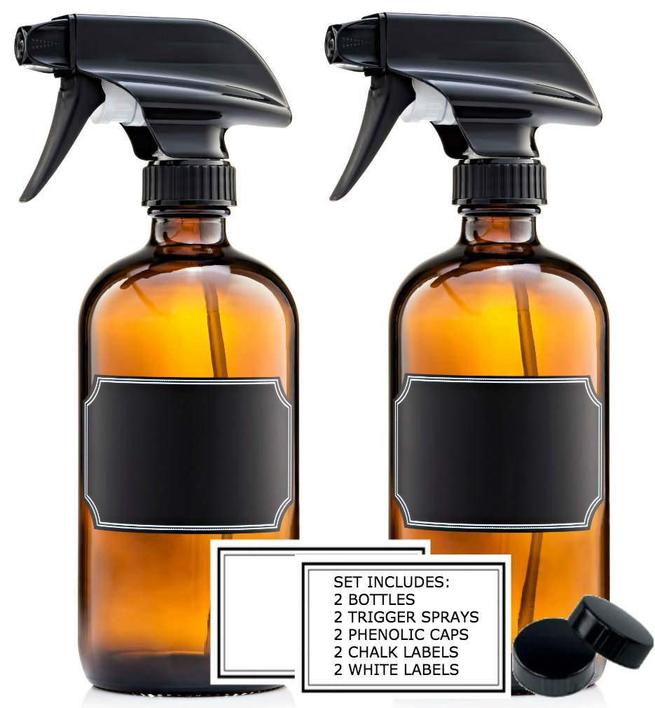 16 Oz. Amber Glass Trigger Spray Bottles Refillable Set of 2 with Phenolic Caps, Chalk Stickers White Labels