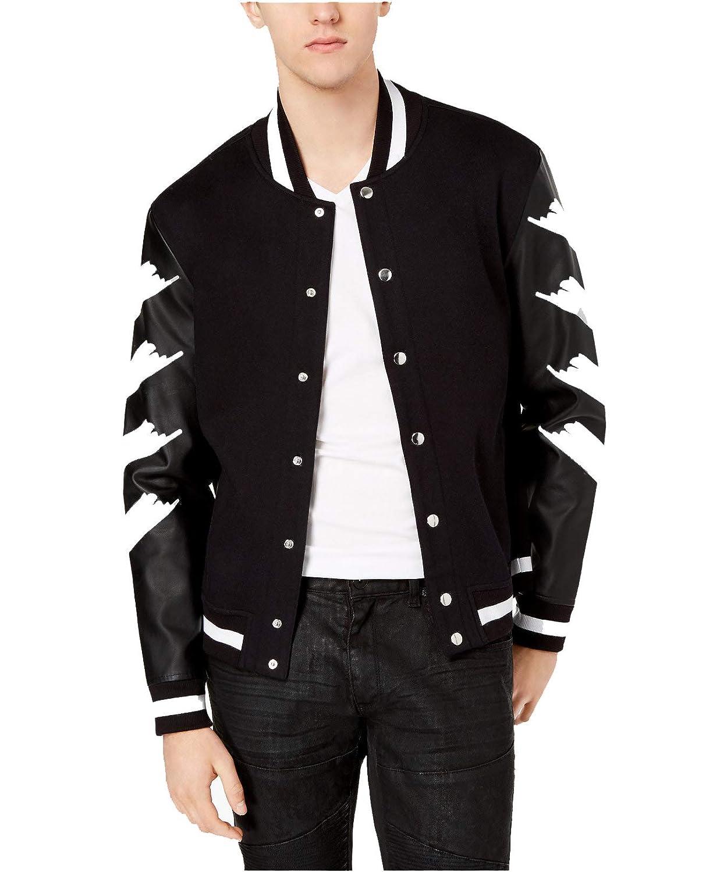 INC International Concepts Men s Strokes Varsity Jacket (Deep Black ... 692721e1f979