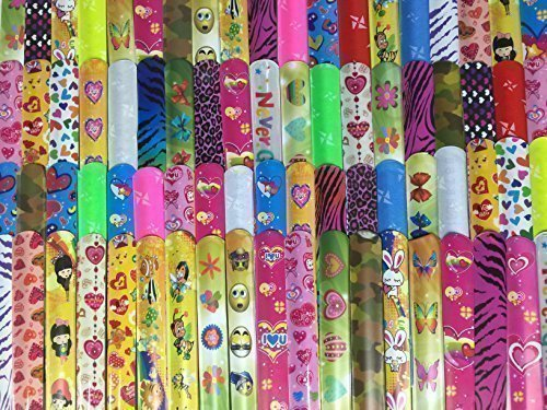 35 Kids Slap Bracelets. Teens Boys Girls Party Favors. Assorted Prints. Over 8