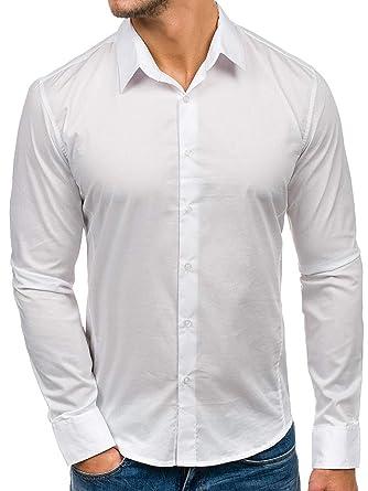 Bruno Leoni Hombres Camisa con Kent Cuello y Mangas largas Camisa del Ocio Slim Fit 142: Amazon.es: Ropa y accesorios