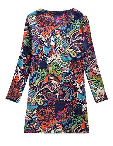 Cekaso Manches Longues Robe De Quart De Travail Amincissent Imprimé Floral Féminin Robe Courte Tunique A9