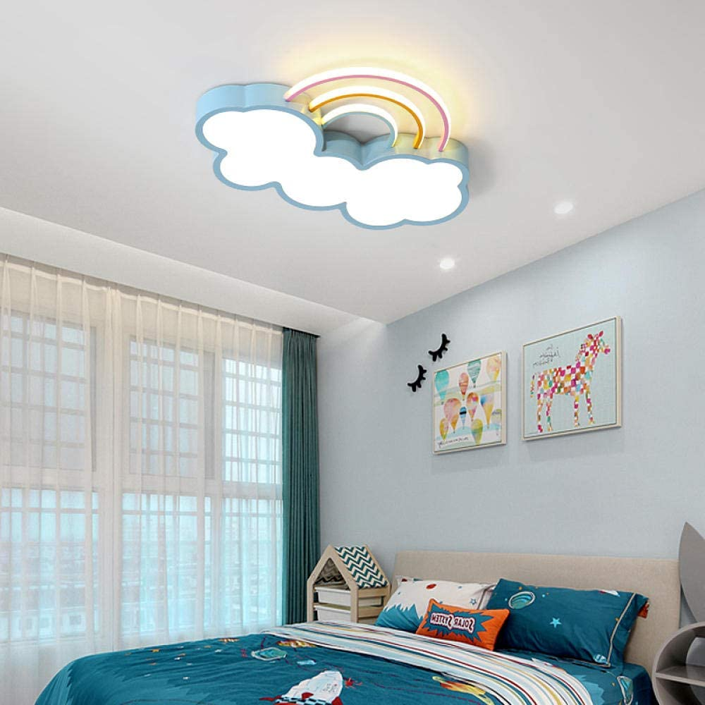 WEPAINTING Children's Room lamp Simple Modern Creative Personality Cloud Rainbow LED Ceiling lamp Kid Cartoon Bedroom Lighting-White Trumpet+36W+Promise dimming A202
