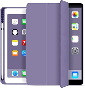 KenKe case for iPad 9.7 2018 / 2017 Case with Pencil Holder - Lightweight Soft TPU Back Cover with Auto Sleep/Wake,Protective for iPad 5th/6th Generation case 9.7 inch-Purple