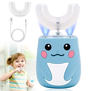 ShiRui Kids Electric Toothbrush,Ultrasonic Automatic Toothbrushes with Six Smart Modes 360° Cleaning,U Shaped Auto Toothbrush IPX7 Waterproof Design for Children Toddler 2-7 Years Old Blue.