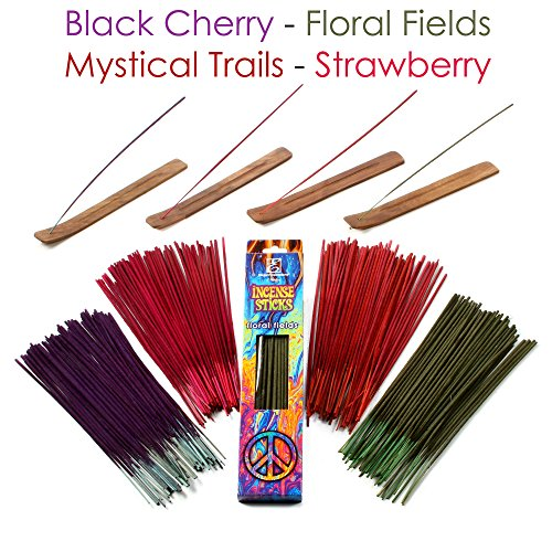 Hosley 260 Pack Assorted Incense Sticks Black Cherry, Floral Fields, Mystical Trails, & Strawberry with 4 Holders Ideal for Wedding, Spa, Reiki , Aromatherapy, Bathroom Bulk Buy O5 (Black Cherry Incense)