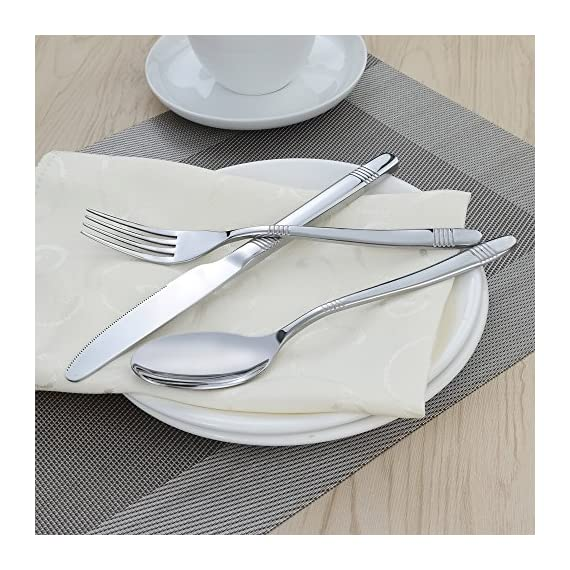 Begale 60-Piece Flatware Set, Stainless Steel, Service for 12 - 60-piece flatware set, services for 12 Service includes: 12 each; knife, dinner forks, dinner spoons, dessert spoons, dessert forks. Daily use for home, kitchen or restaurant - kitchen-tabletop, kitchen-dining-room, flatware - 61MynzVjTOL. SS570  -