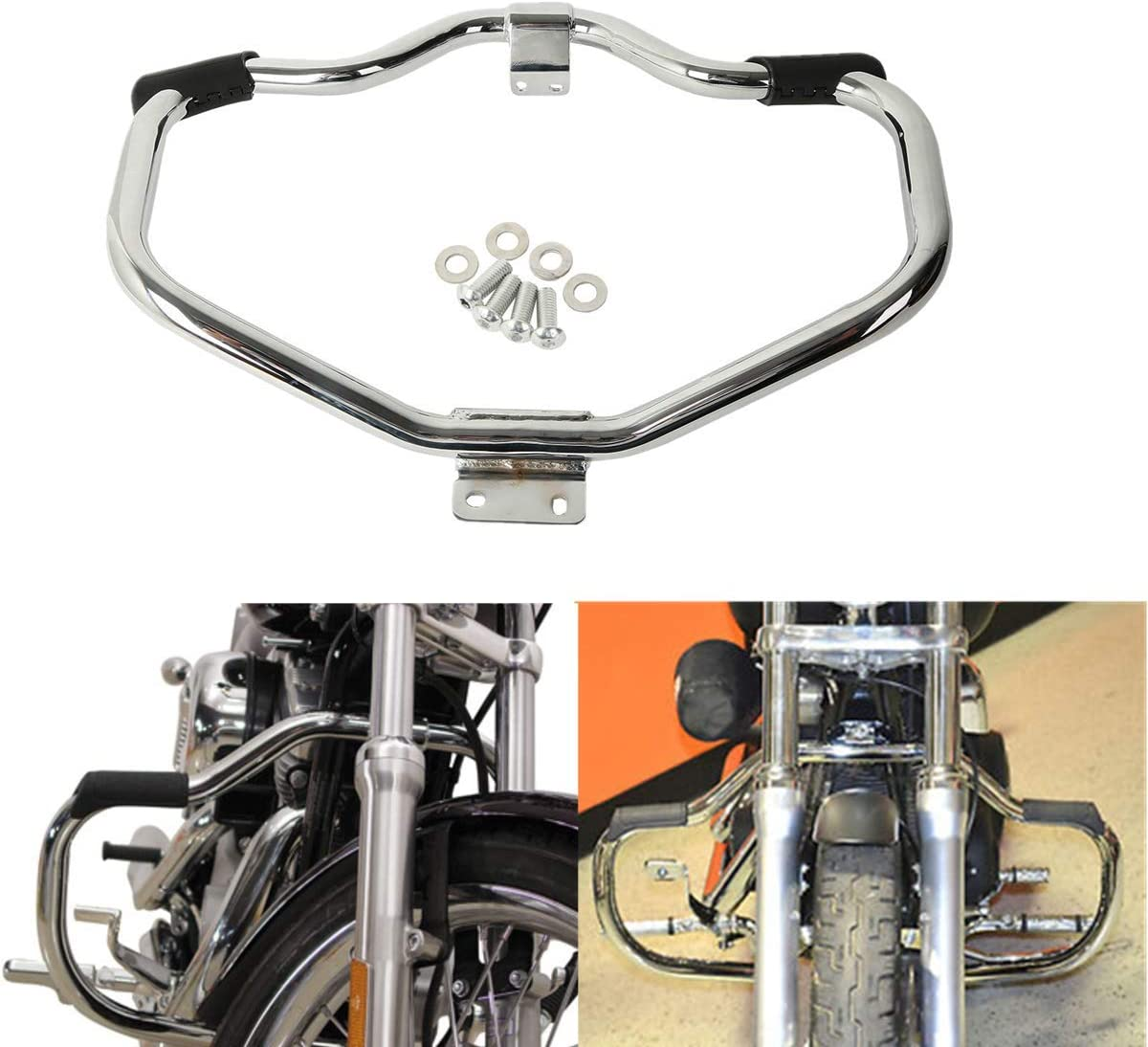 Ambienceo Engine Guard Highway Crash Bar Fits For Harley Sportster 883 1200 XL XR 48 72 2004-2019 Silver