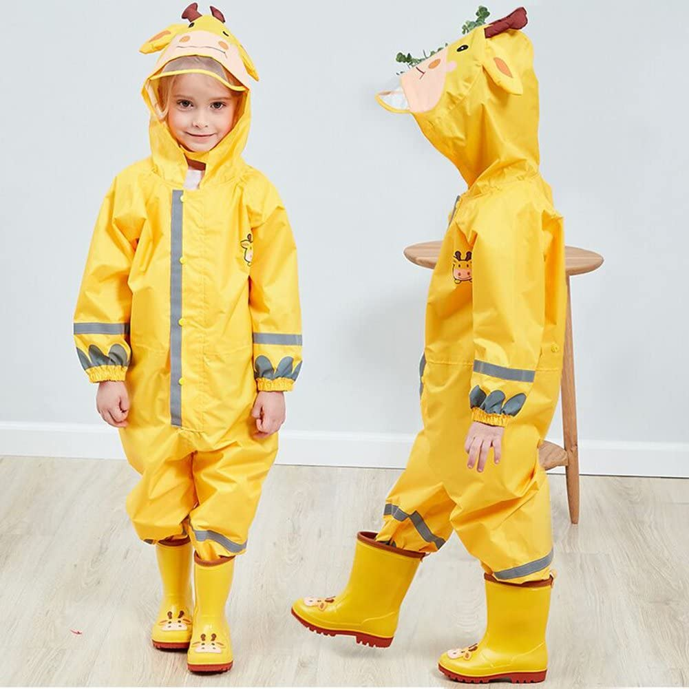 Hivia Tuta da Pioggia Completo Impermeabile all in One Waterproof per Bambine e Bambini 2-8 Anni