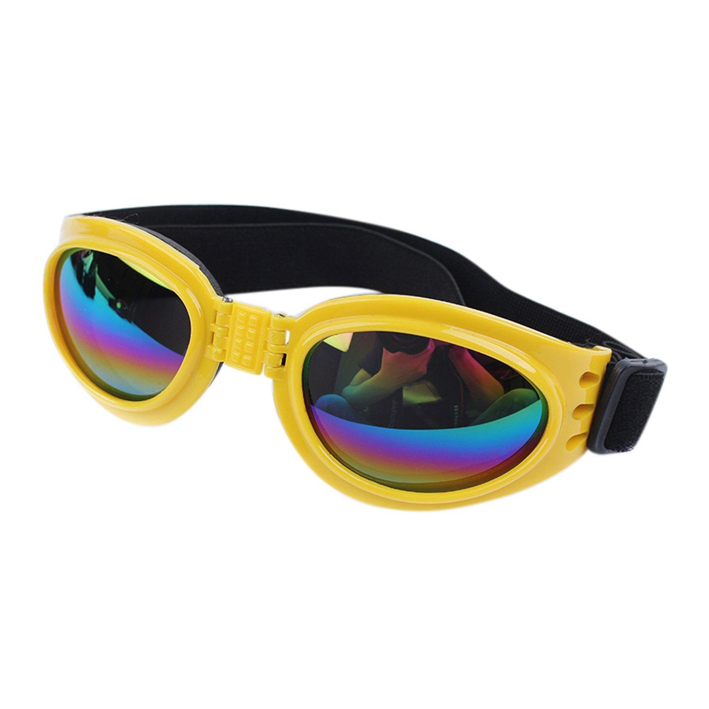 Boodtag Chien Lunette de Soleil UV Protection Goggles Adjustable Rétro Cool Animal Lunette pour Chat Chiot Photo Props (Blanc)