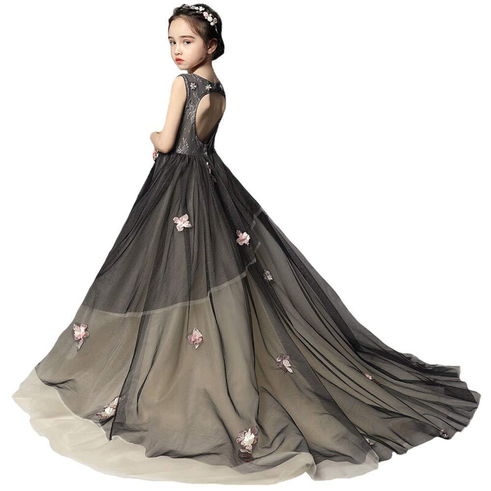 Noir 110cm HUO FEI NIAO Robe de mariée pour Enfants, Robe de soirée traînante et Costume de Perforhommece au Piano (Couleur   Noir, Taille   110cm)