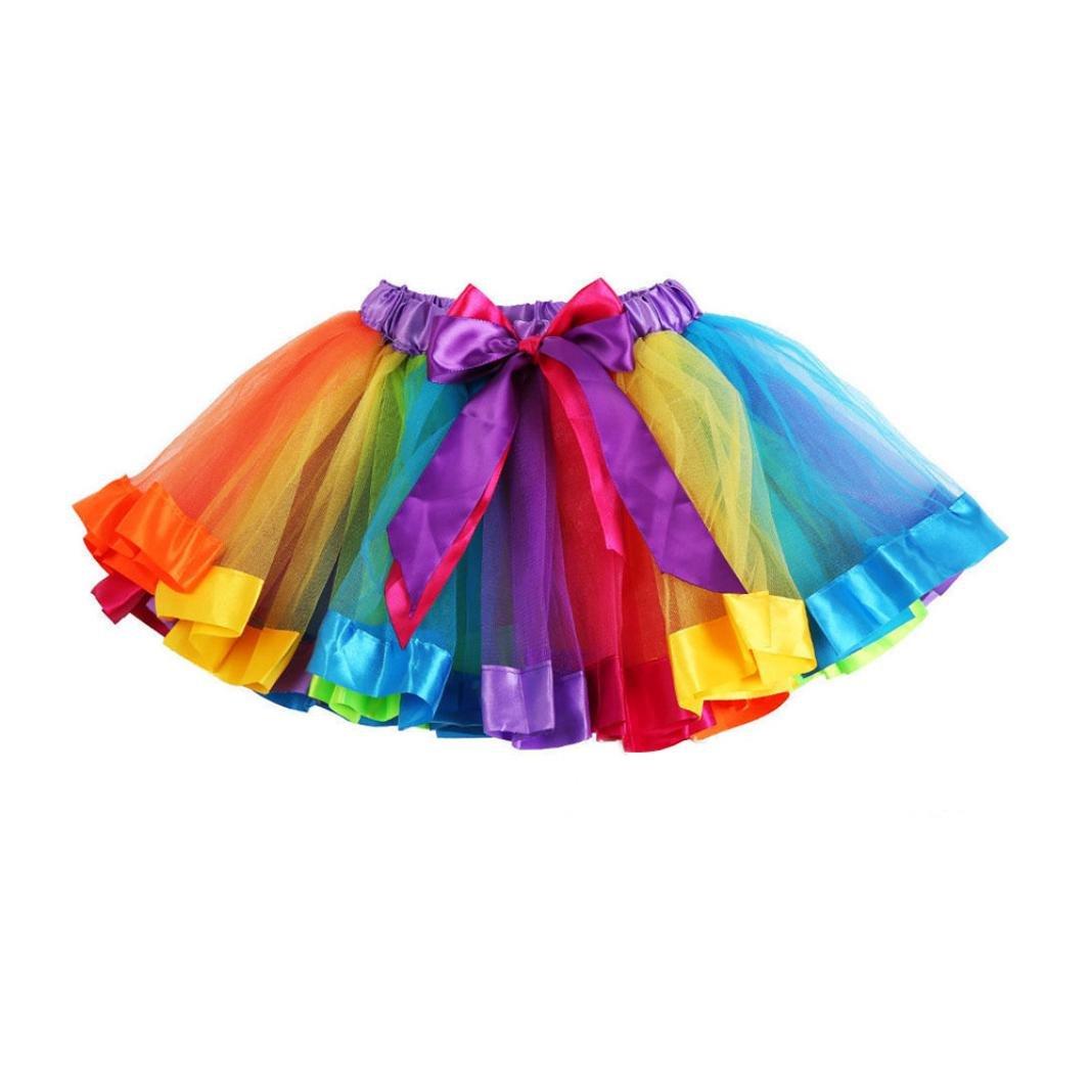 Kehen Baby Girl Tutu Skirt Party Rainbow Gauze Petticoat Pettiskirt Bows Dancewear Halloween Christmas Dress Up