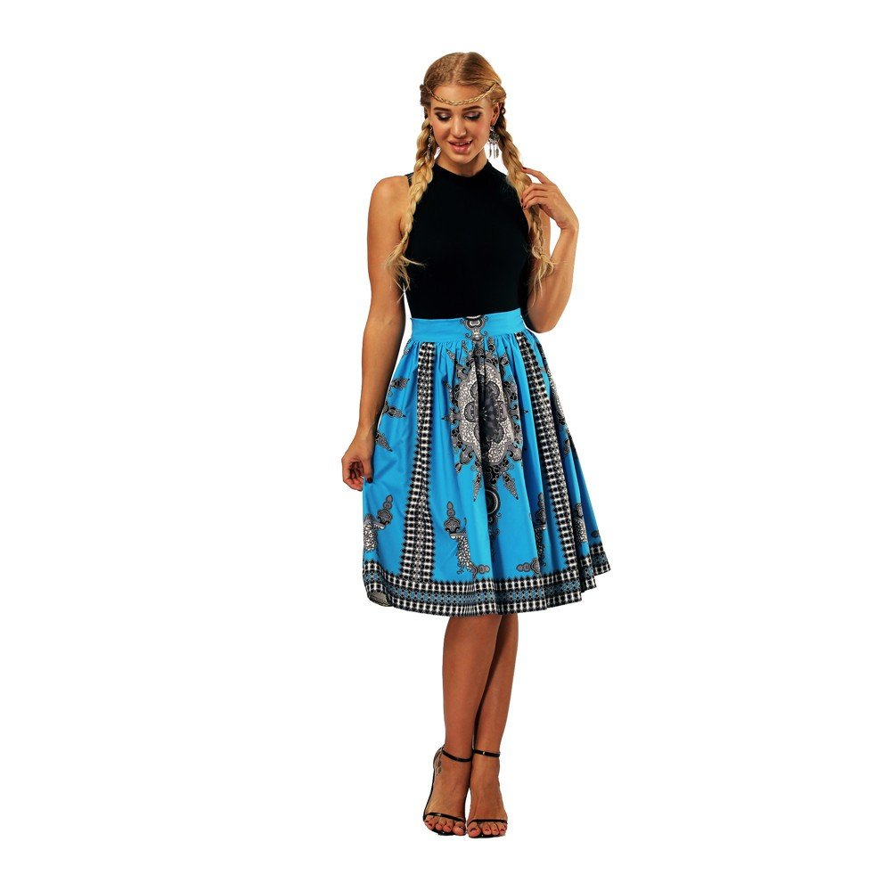 ShinefromCloud Women's 3D Printed Midi Skirt High Waisted Pleated A Line Skirts QYYXGS BMP002