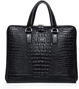 DANJUE new first layer leather business bag official man bag shoulder bag Messenger bag crocodile pattern mens briefcase D8039-1 black